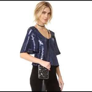 Free People NIGHT FEVER sequin top